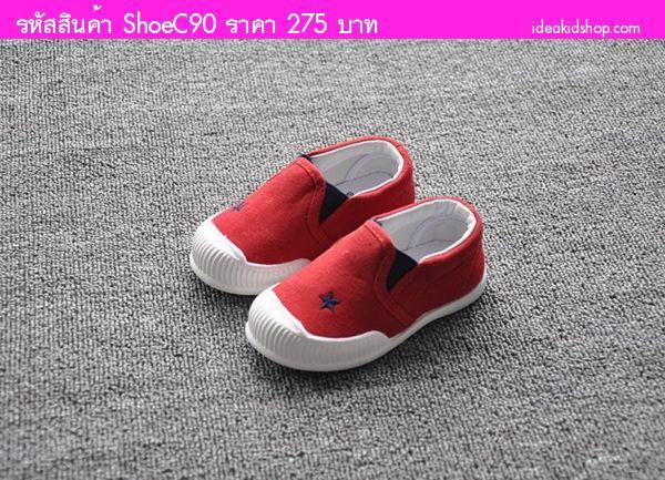 รองเท้าเด็กผ้าใบ Red Star สีแดง