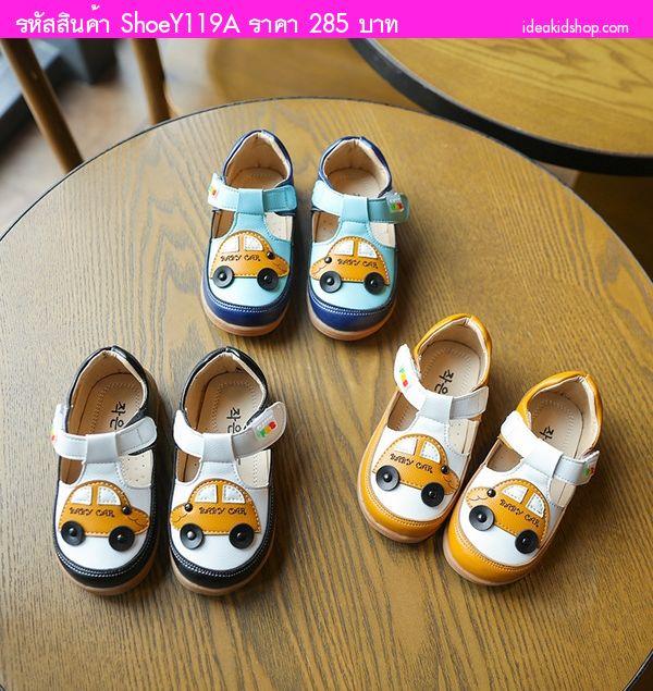 รองเท้าหนังสุดน่ารัก Baby Car สีฟ้า