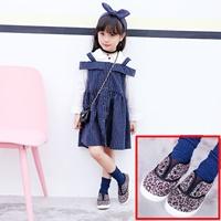 รองเท้าผ้าใบเด็กแฟชั่น-ลายเสือดาว-โทนสีน้ำตาล