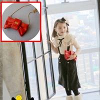 กระเป๋าเด็กโบว์สะพายข้างแฟชั่นไฮโซ-สีแดง
