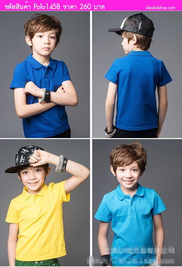 เสื้อโปโลเด็กแฟชั่น BTB สีกรมดำ