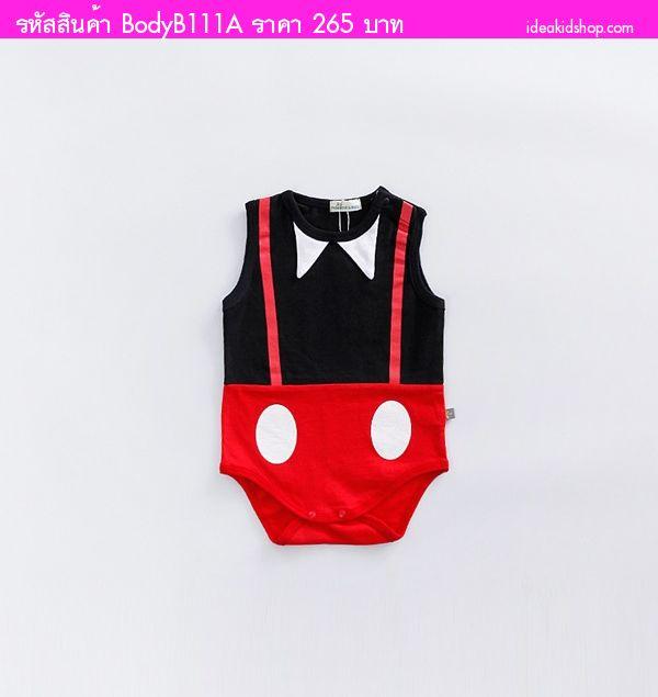 บอดี้สูทหนุ่มน้อย Mickey Mouse สีดำแดง