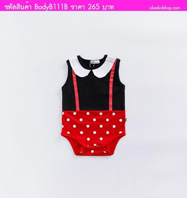 บอดี้สูทหนุ่มน้อย Minnie Mouse สีดำแดง
