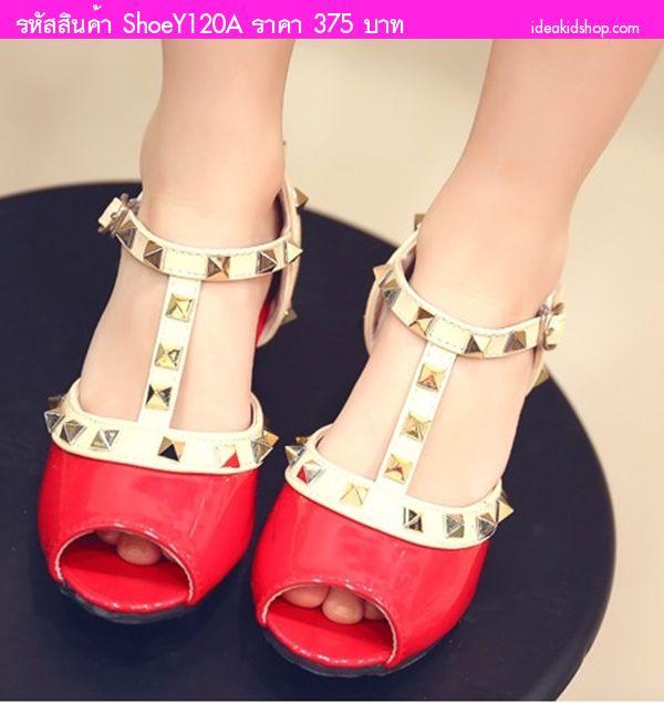รองเท้าหนังแก้ว มีส้น Valentino สีแดง