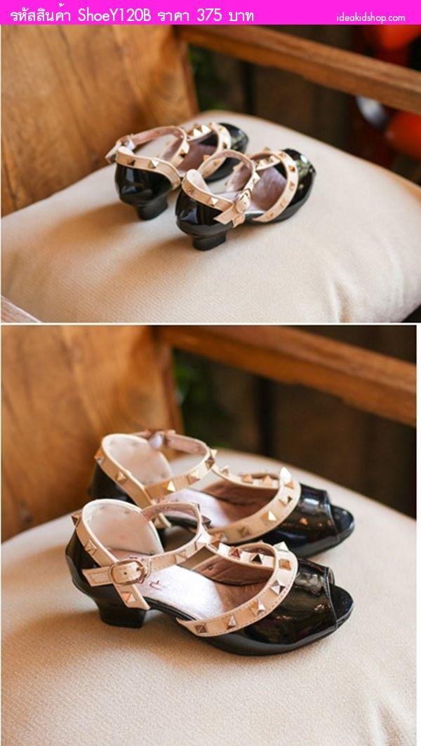 รองเท้าหนังแก้ว มีส้น Valentino สีดำ