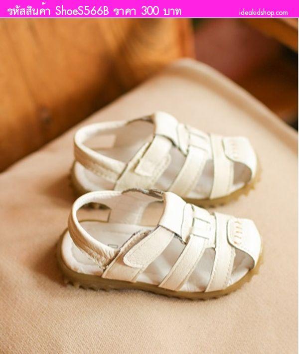 รองเท้ารัดส้นหนังเทียมสไตล์เกาหลี สีขาว