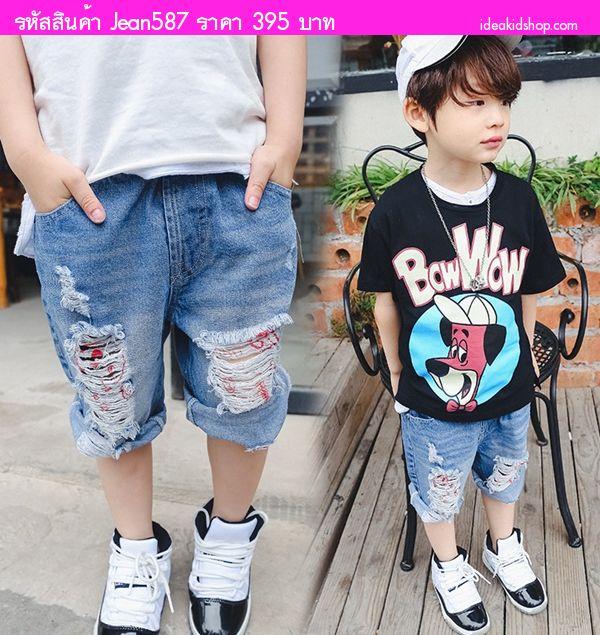 กางเกงยีนส์เด็กสไตล์เซอ ปาดขาดขาด สียีนส์