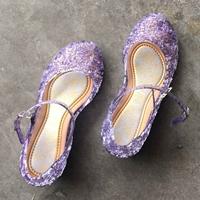 รองเท้า-Frozen-Cinderella-princess-รังนก-สีม่วง