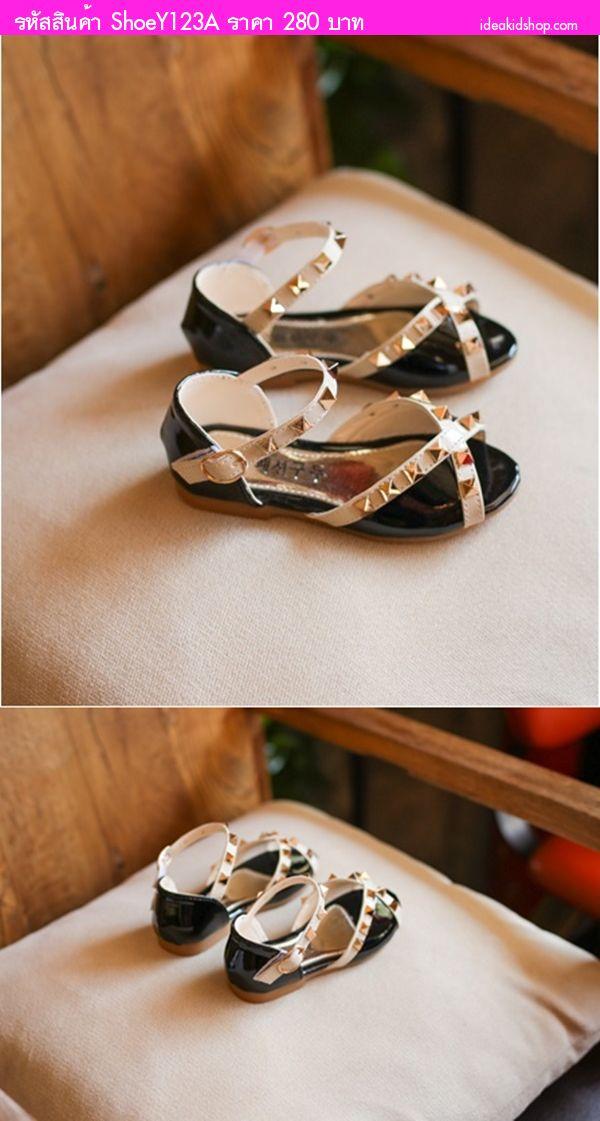 รองเท้ารัดส้นหนังแก้ว วาเลนเชีย Valentino สีดำ
