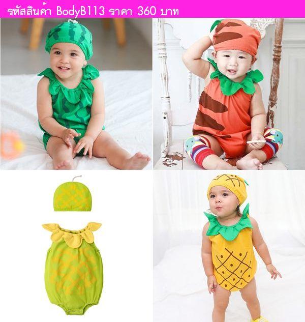 บอดี้สูทหนูน้อยแครอทพร้อมหมวก สีส้มเขียว