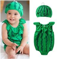 บอดี้สูทหนูน้อยลูกแตงโมพร้อมหมวก-สีเขียวเข้ม