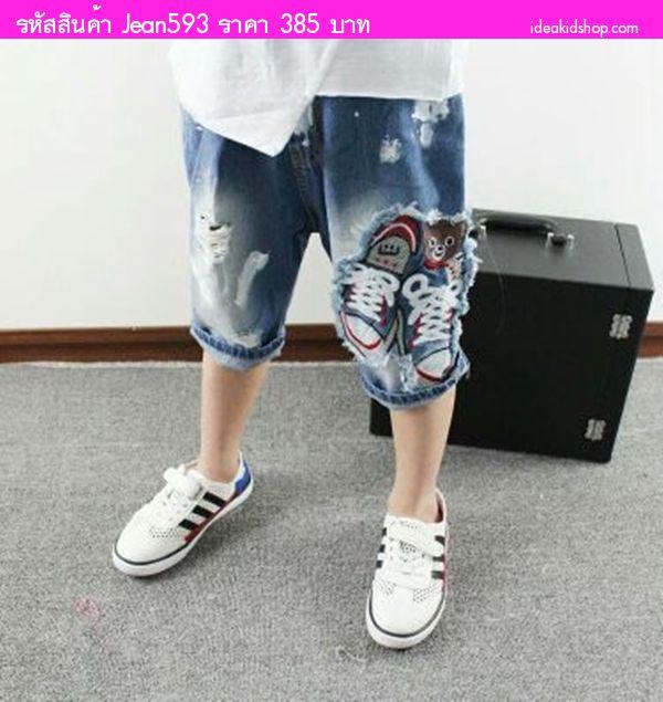 กางเกงยีนส์เด็กขาสามส่วนป้ายสี ลายรองเท้า สียีนส์
