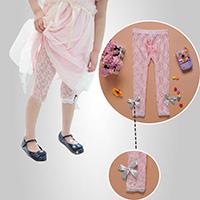 กางเกงเลกกิ้ง-ลูกไม้บางเบา-สีชมพู-โบว์เทา