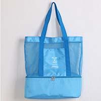กระเป๋าสะพายแบบตาข่ายปิคนิคคูลเลอร์-PlayJoy-สีฟ้า