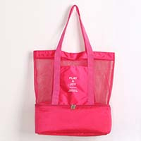 กระเป๋าสะพายแบบตาข่ายปิคนิคคูลเลอร์-PlayJoy-สีชมพู