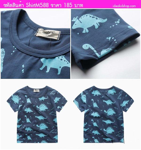 เสื้อยืดเด็ก ลาย Dinosaur And Friends สีกรมเขียว