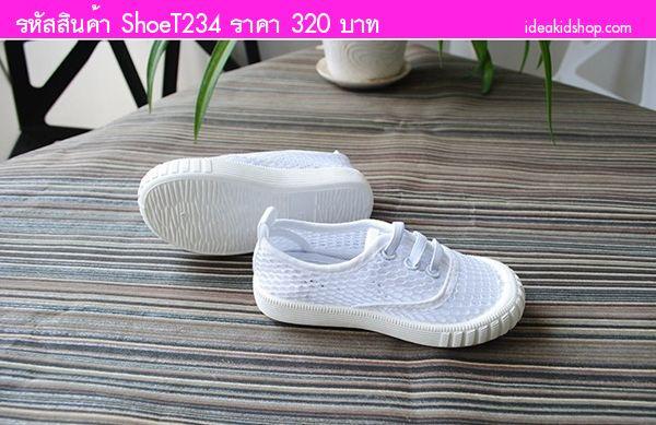 รองเท้าแฟชั่นแบบตาข่ายแต่งเชือก EDUBA สีขาว