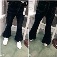 กางเกงยีนส์แฟชั่นขาบาน-แต่งปลายรุ่ย-สีดำ