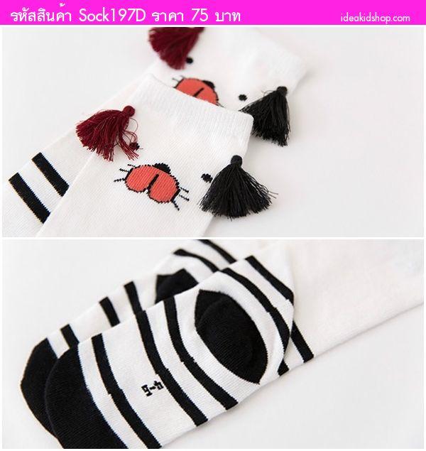 ถุงเท้าเด็กแบบยาวแต่งพู่หน้าหมี ลายจุด สีดำ
