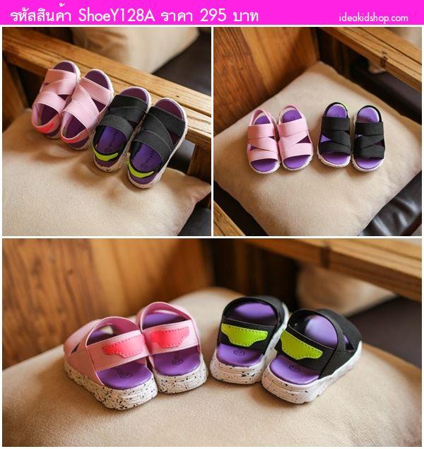 รองเท้าผ้าใบรัดส้นแฟชั่น Mbaobei สีชมพู