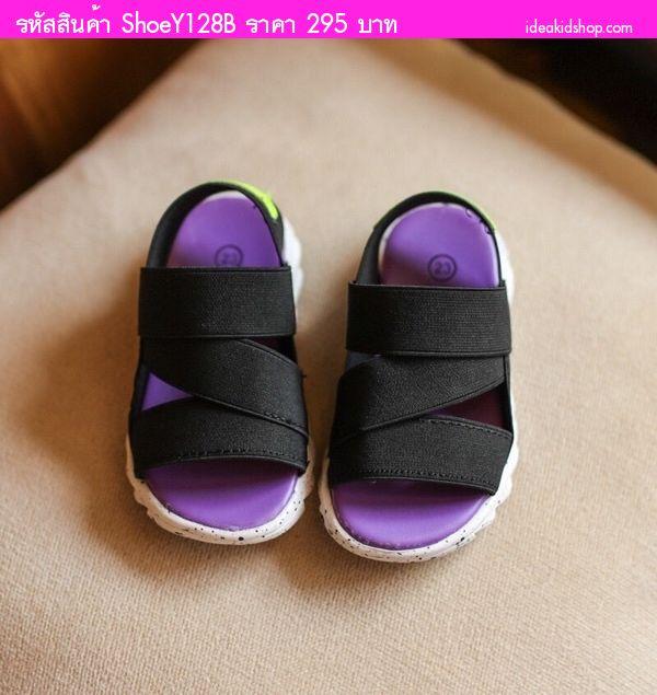รองเท้าผ้าใบรัดส้นแฟชั่น Mbaobei สีดำ
