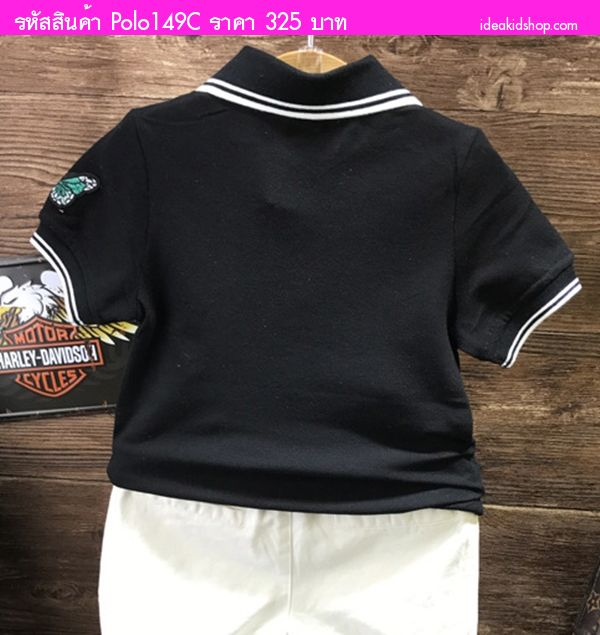 เสื้อโปโลแฟชั่น Sporting Butterfly สีดำ