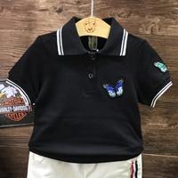 เสื้อโปโลแฟชั่น-Sporting-Butterfly-สีดำ