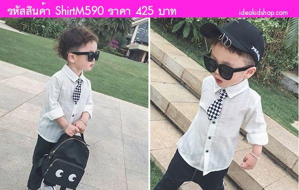 เสื้อเชิ้ตหนุ่มน้อยจีฮุน พร้อมเนคไท ลายตาราง สีขาว