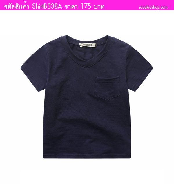 เสื้อยืดคอวีหนูน้อยโรลลี่ สีกรม