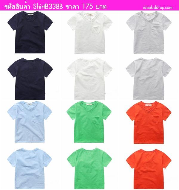 เสื้อยืดคอวีหนูน้อยโรลลี่ สีขาว