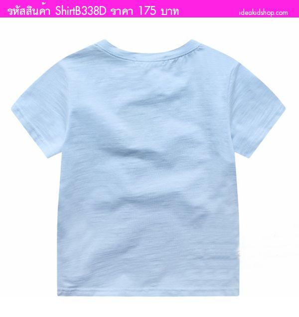 เสื้อยืดคอวีหนูน้อยโรลลี่ สีฟ้า