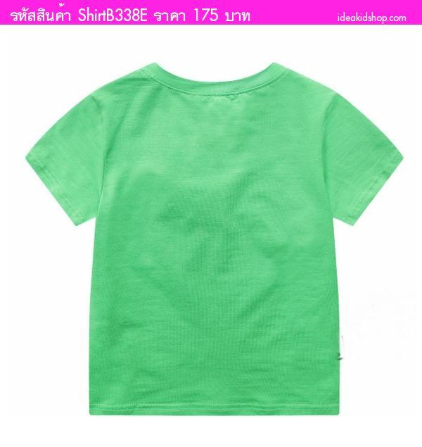 เสื้อยืดคอวีหนูน้อยโรลลี่ สีเขียว