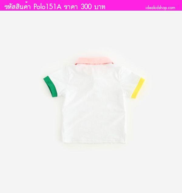 เสื้อโปโลคุณหนูโบกัส สไตล์โปโล สีขาวชมพู