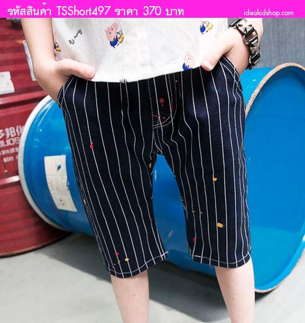 กางเกงแฟชั้นขาสามส่วน ลายทางป้ายสี สีกรม
