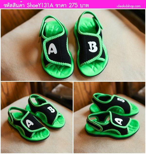 รองเท้ารัดส้นสไตล์เกาหลี A&B สีเขียว