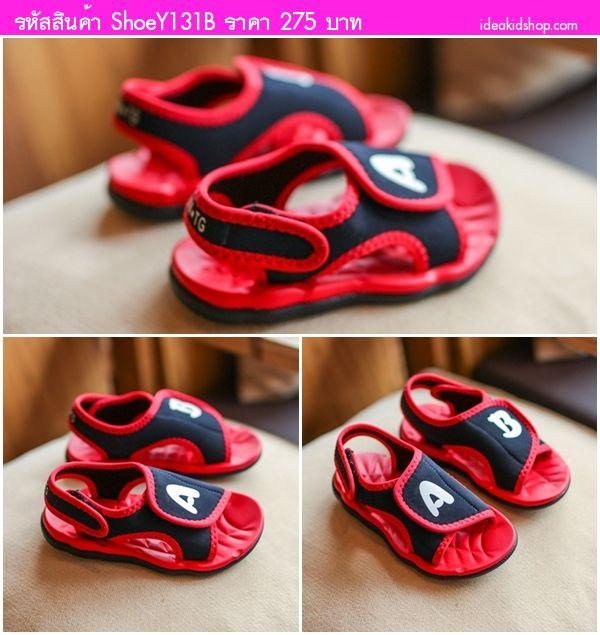 รองเท้ารัดส้นสไตล์เกาหลี A&B สีแดง