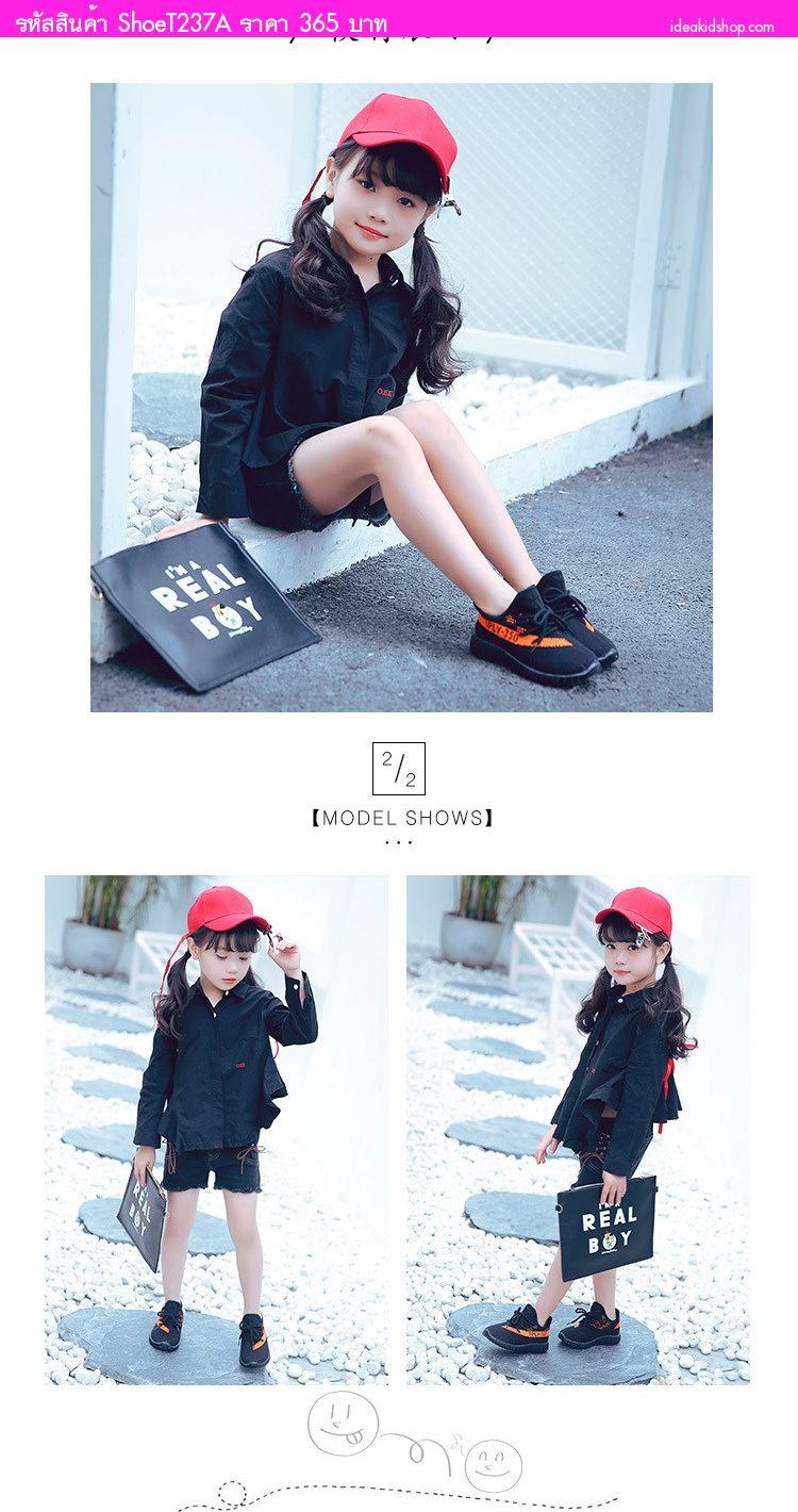รองเท้าผ้าใบสไตล์ YEEZY SPLY 350 สีดำส้ม