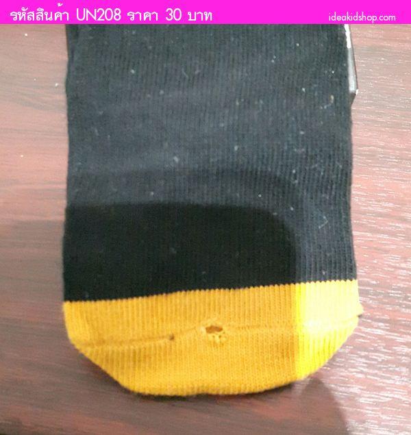 ถุงเท้าเด็กแบบยาวแต่งพู่หน้าเพนกวิน สีดำ (ตำหนิ)