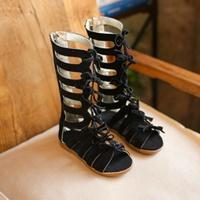รองเท้า-Gladiator-High-Boots-ผูกโบว์-สีดำ