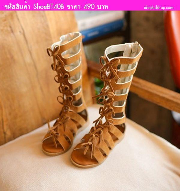 รองเท้า Gladiator High Boots ผูกโบว์ สีน้ำตาล