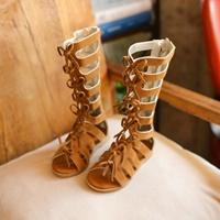รองเท้า-Gladiator-High-Boots-ผูกโบว์-สีน้ำตาล