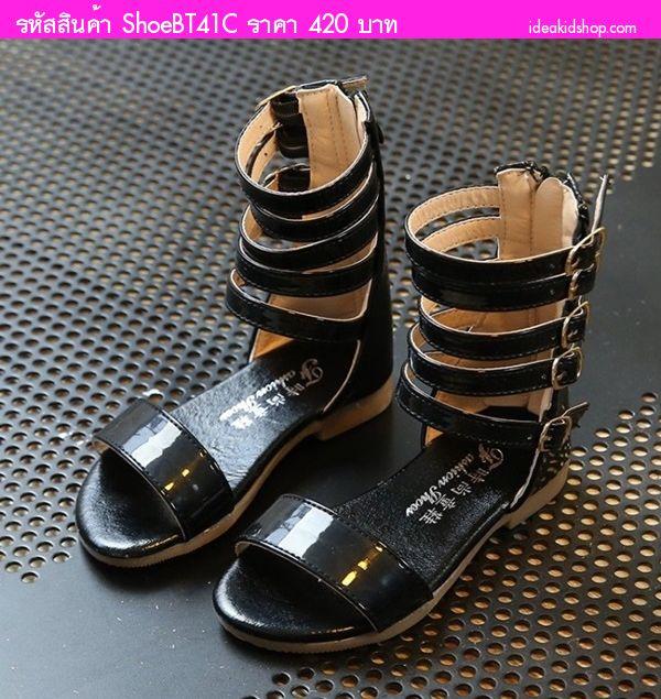 รองเท้าแฟชั่นสไตล์โบฮีเมียน หนูน้อยเรย่า สีดำ
