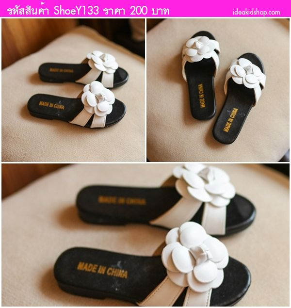 รองเท้าแตะคุณหนูสเตล่า ติดดอกไม้ Chanel สีขาวดำ