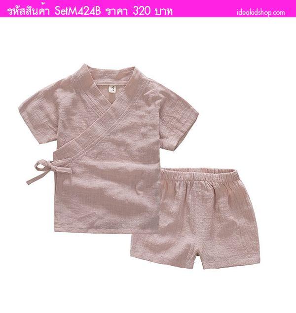 ชุดเสื้อกางเกงหนูน้อยโมโมจิ กิโมโน สีชมพูครีม