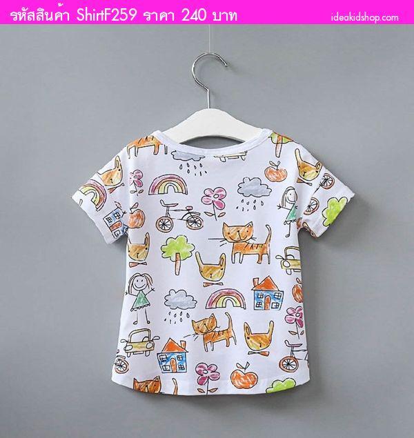 เสื้อยืดแฟชั่นสุดน่ารัก เด็กหญิงและน้องแมว สีขาว