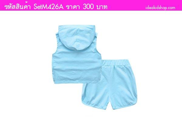 ชุดเสื้อกางเกงมีฮู้ดสาวน้อยเอลลี่ PYREX 23 สีฟ้า