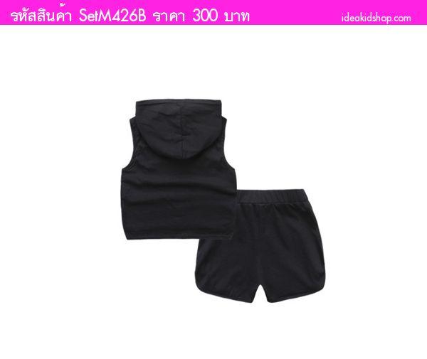 ชุดเสื้อกางเกงมีฮู้ดสาวน้อยเอลลี่ PYREX 23 สีดำ