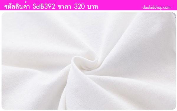 ชุดเสื้อกางเกงน่าเลิฟ เพนกวินน้อย สีขาวเทา
