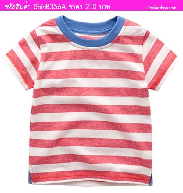 เสื้อยืดเด็กคอกลม หนูน้อยลิตเติ้ล ลายทาง สีขาวแดง