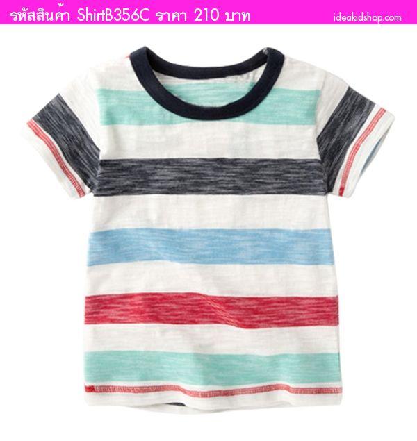 เสื้อยืดเด็กคอกลมหนูน้อยลิตเติ้ล ลายทาง สีฟ้าดำแดง